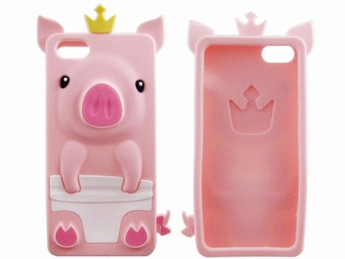 Cute Fancy 3D Silicone Protective Pig Case Cover for iPhone 5 Pink