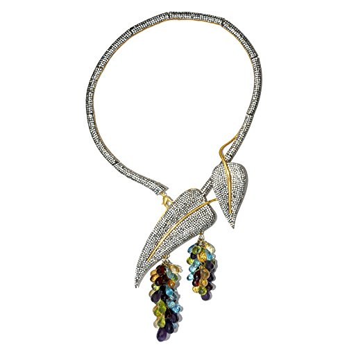 Gehna Silver Gemstone Beaded Choker & Earring Set For Women -Multi-Colour (multicolor)