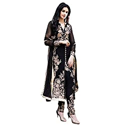 Typify Women's Georgette Unstitched Dress Material (TYPIFY260_Black_Free Size)