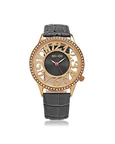 SO&CO Women's 5206.4 SoHo Grey Leather Watch
