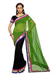 Anvi Black and green faux georgette designer saree with unstitched blouse (1458)