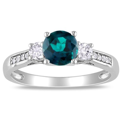 10K White Gold, Diamond and Created Emerald Ring, ( .05 cttw, GH Color, I2-I3 Clarity)