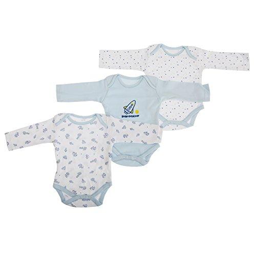 Body per Neonato a maniche lunghe con disegno (Confezione 3 Pezzi) - Unisex (9-12 mesi) (Blu)