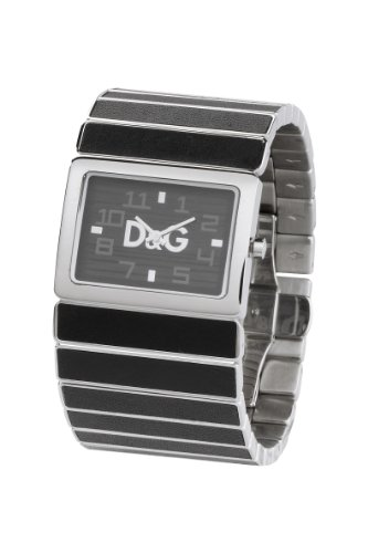 D&G Dolce&Gabbana DW0084 - Reloj analógico unisex de cuarzo con correa de acero inoxidable negra - sumergible a 30 metros