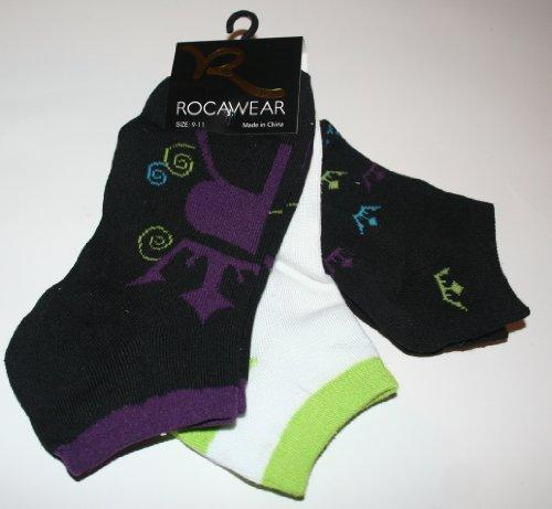 Rocawear Women's/Girl's Low Cut Socks 3 Pair - Size: 9-11 Black/White/Multi
