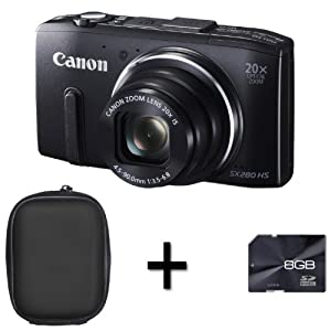 Canon PowerShot SX280 HS Compact Digital Camera - Black + Case and 8GB Memory Card (12.1MP, 20x Optical Zoom) 3 inch LCD