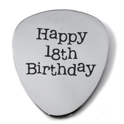 Happy 18th Birthday Stainless Steel Guitar Plectrum with Gift Box