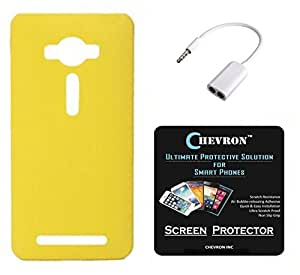 Chevron Hard Back Cover Case for Asus Zenfone 2 Laser 5.5inch ZE550KL with HD Screen Guard & Audio Splitter (Yellow)