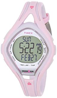 Timex Women's T5K506DH Ironman Sleek 150-Lap Pink and White Resin Strap Watch