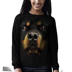 Rottweiler Dog Rottie Big Face Women Black Sweatshirt S-2XL | Wellcoda