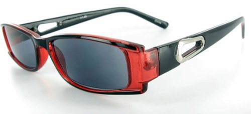 """Breezers"" Full Sun Readers Sunglasses (NOT A BIFOCAL) for youthful and active men and women who like to look great while reading in comfort in the sun. (Red w/ Some Lens +1.25)"