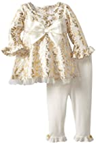 Youngland Baby-Girls Infant Scroll Print Knit Legging Set, Cream/Gold, 18 Months