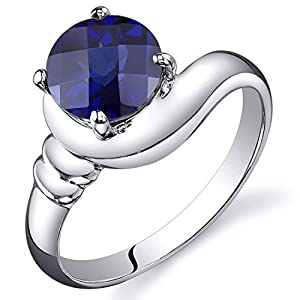 Created Sapphire Modern Ring Sterling Silver Rhodium Nickel Finish Round 1.75 Carats Size 5