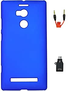 FCS Rubberised Hard Back Case For Gionee Elife E8 With 3.5mm 1 Meter AUX Cable And OTG Adaptor
