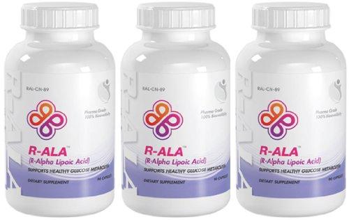 R-Ala Healthy Glucose Metabolism R-Alpha Lipoic Acid 200Mg 270 Capsules 3 Bottles