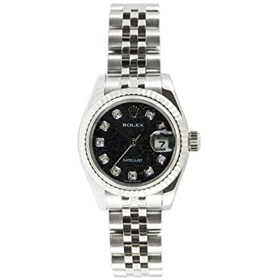 Rolex Ladys 179174 Datejust Steel Jubilee Band, Fluted Bezel & Black Anniversary Diamond Dial