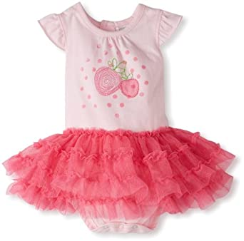 Absorba Baby-Girls Newborn Strawberry Skirted Tutu Bodysuit, Pink, 6-9 Months