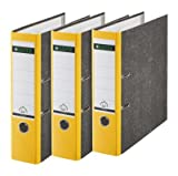 Leitz 310305015 Qualitäts-Ordner Wolkenmarmor-Papier gelb