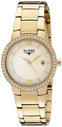 Elysee Nora Femme 28mm Doré Acier Inoxydable Bracelet Date Montre 33046