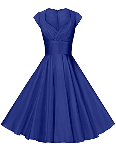 GownTown Womens Dresses Party Dresses 1950s Vintage Dresses Swing Stretchy Dresses, Royal Blue, Large
