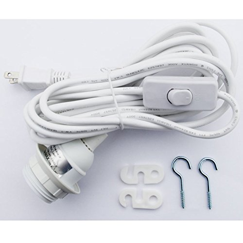 Hanging Lamp With Cord: Cord Set For Ceiling Pendant Lamp Shade, 15' Cable , WITH