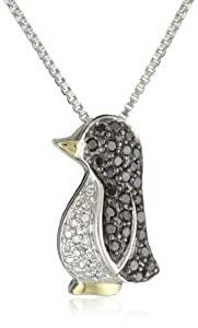 XPY Sterling Silver and 14k Yellow Gold, Black and White Diamond Penguin Pendant Necklace (0.25 cttw, Black Diamonds, I-J Color, I2-I3 Clarity), 18
