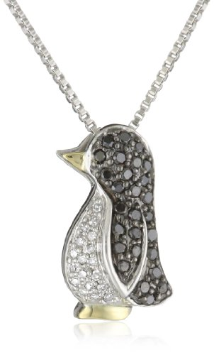 XPY Sterling Silver and 14k Yellow Gold, Black and White Diamond Penguin Pendant Necklace (0.25 cttw, Black Diamonds, I-J Color, I2-I3 Clarity), 18""
