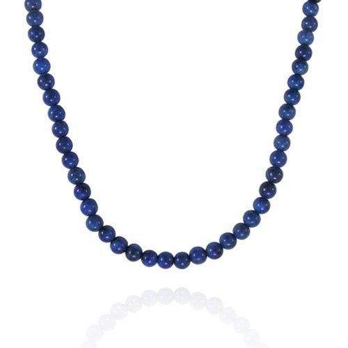 4mm Round Lapis Bead Necklace, 30+2