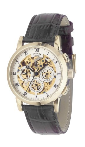 Rotary Gents Gold Plated Leather Strap Watch GS02375/01