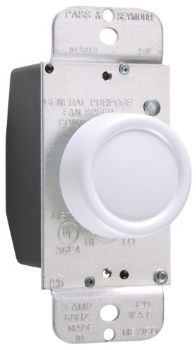 Pass & Seymour 94301Wv Rotary Fan Speed Control 3-Amp Max, Full Range Control Fits Standard Toggle Plates, White
