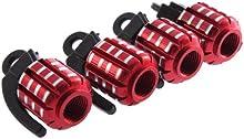 Comprar SODIAL(R) 4 x Tapa para Valvula de Neumatico para Coche Motocicleta Bicicleta, Forma de Granada Metal - Rojo
