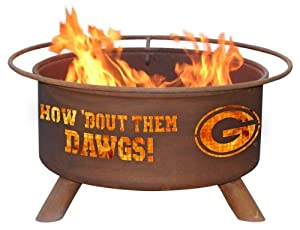 Georgia Bulldogs UGA Portable Steel Fire Pit Grill by Patina