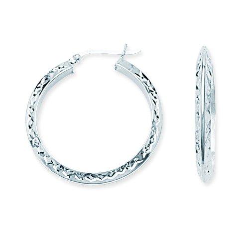 Sterling Silver Rhodium Diamond Cut Knife Edge Hoop Earrings