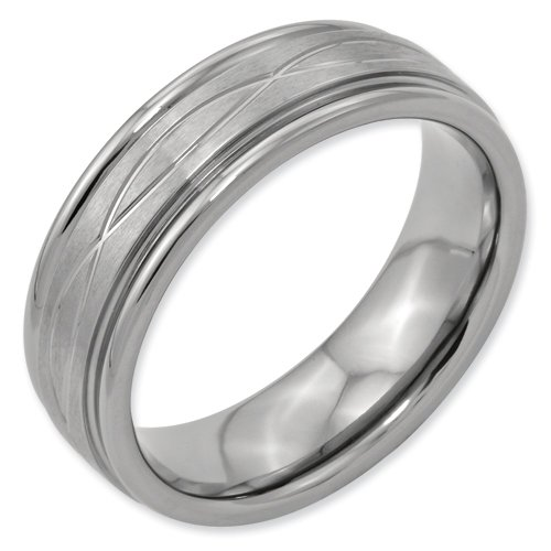 Titanium Criss-cross Design 7mm Brushed Band Ring Size 17 Real Goldia Designer Perfect Jewelry Gift for Christmas