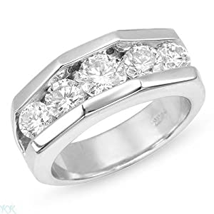 Gentlemens Band Ring With 2.50ctw Genuine Clean Diamonds Well Made in 14K White Gold. Total item weight 15.2g (Size 10)