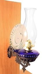 Victorian Oil Lamp - Cobalt Blue w/Reflector Wall Mount - Hurricane Lamps