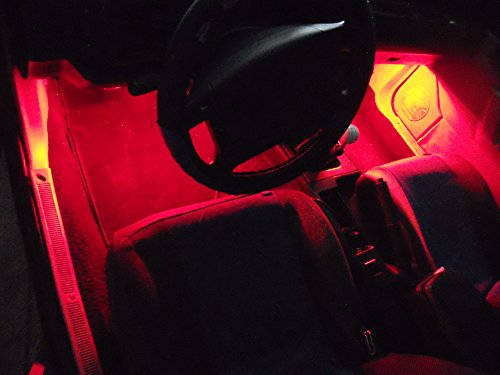 4Pc Red Neon Interior, Underdash Lighting Kit With Flexible Led Strips And Remote Control