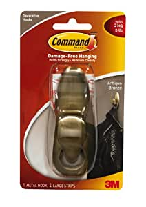 Command Forever Classic Metal Hook, Antique Bronze, Large