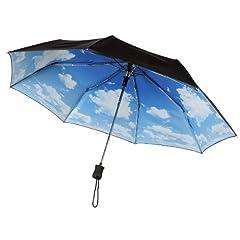 IRIDESCENT Navy CLOUD BLUE SKY PRINT Compact Auto Open Umbrella WINDPROOF
