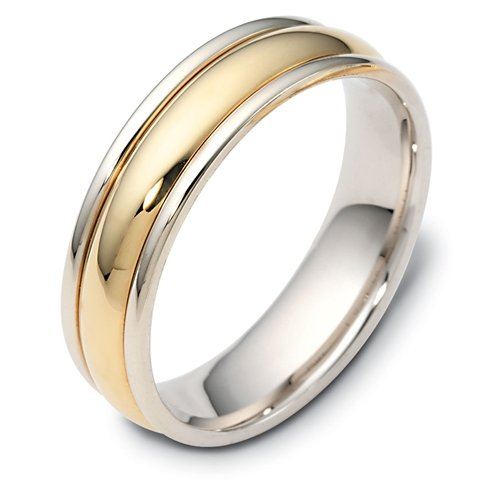 10K Two-Tone Gold, Highly Polished Domed 6MM Wedding Band (sz 11.5)