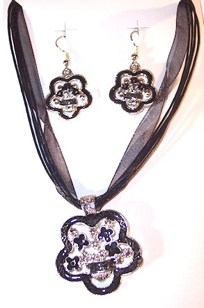 Silvertone with Black Color Enamel Flower Necklace and Earring Set Nickle Free