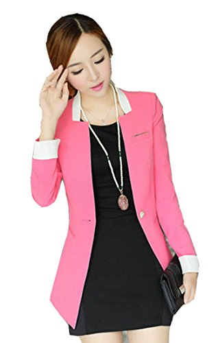 Tm Women Slim One Button Elegant Blazer Suit Jacket Coat Long Sleeve Ol Pink