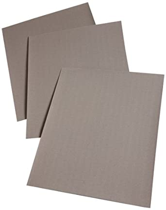 "3M Cloth Sheet 211K, Cloth Backing, Aluminum Oxide, 11"" Length x 9"" Width, 320 Grit, Black (Pack of 50)"