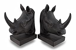 Three Hands Resin Rhino Bookends