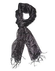 Indian Fashion Guru Pure Silk Black Stole For Women - B00UOYSDFG