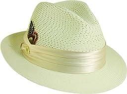 Stacy Adams Men\'s Vent Paper Milan Pinch Front Hat,Beige,L