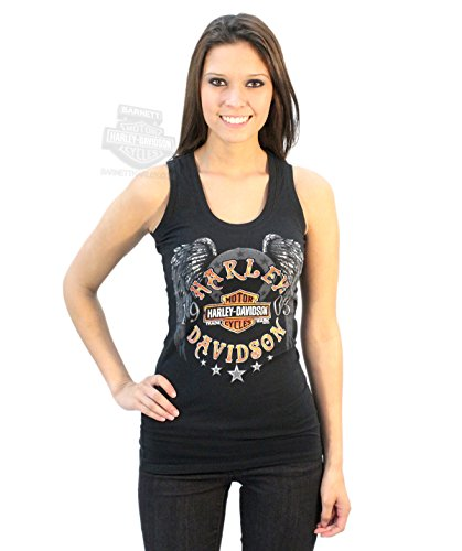 Harley-Davidson Womens Wheel Affection Trademark B&S Wings Black Sleeveless Tank - XL