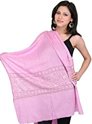 Exotic India Plain Tusha Stole from Kashmir with Sozni Hand Embroidered Border - Color Moonlight MauveColor Free Size