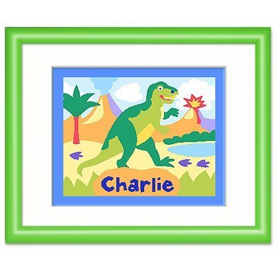 Olive Kids Dinosaurland Personalized Green Framed Print front-946822
