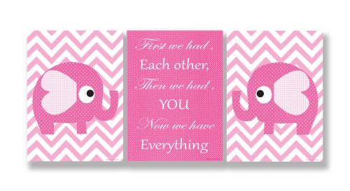 The Kids Room by Stupell Pink Elephants on Chevron Now We Have You 3-Pc. Rectangle Wall Plaque Set